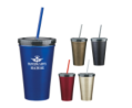 16 oz Stainless Steel Double Wall Tumbler w/ Straw